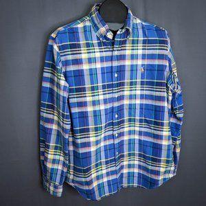 Ralph Lauren Mens Shirt Large Blue Yellow Plaid